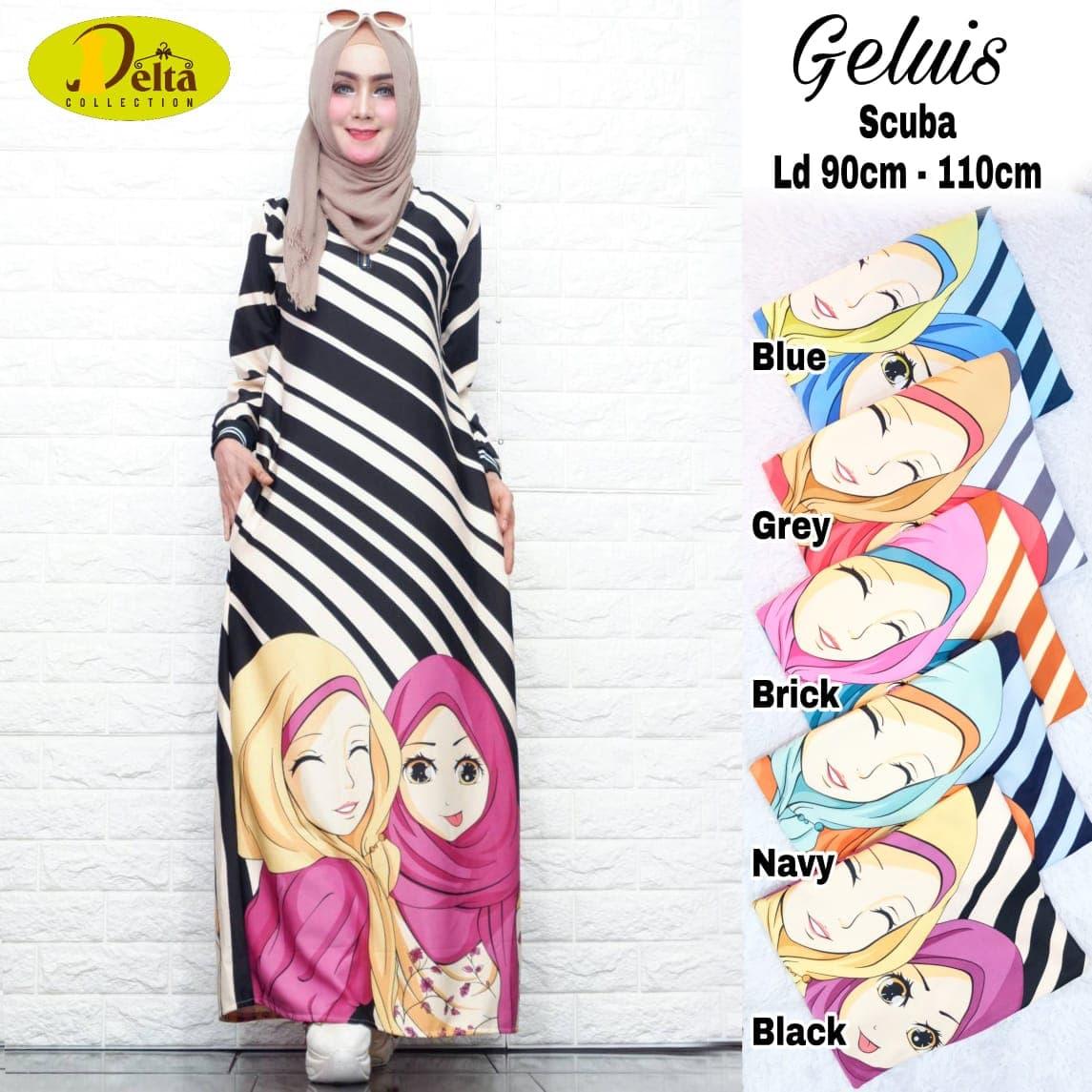 HEMAT Dress Busana Muslimah Gamis Kartun Kekinian Geluis Ori By Delta 787e981e53