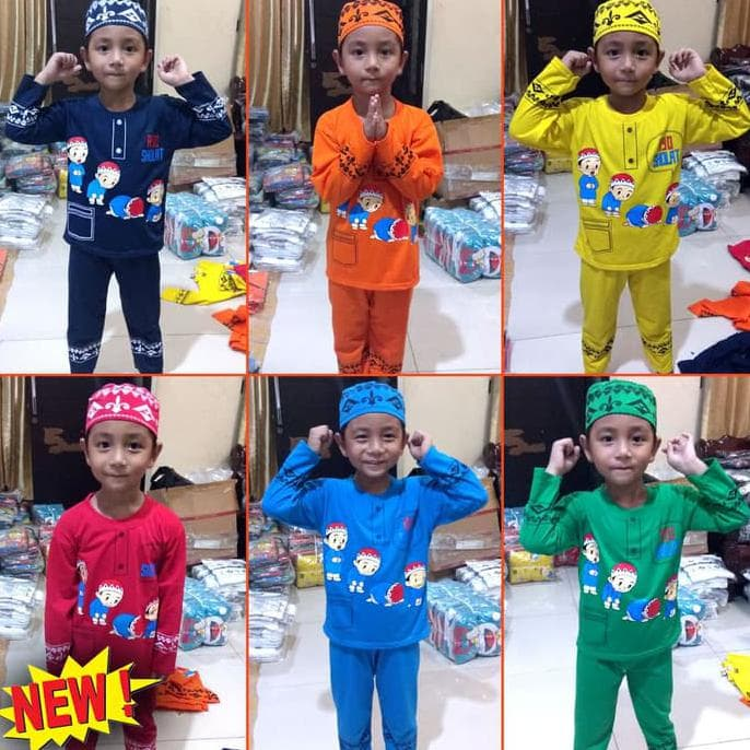 MURAH Koko Anak Muslim KARTUN Baju Setelan Pakaian Gamis Anak Lucu MARUNO -