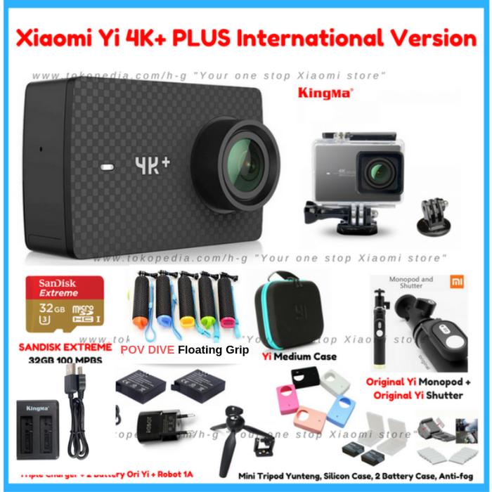 Paket Xiaomi Yi 4K+ PLUS PREMIUM Set Lengkap Action Camera ORIGINAL