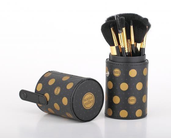 Sonia Miller Cylinder case SBS002BK-11 polka dot black brush set thumbnail