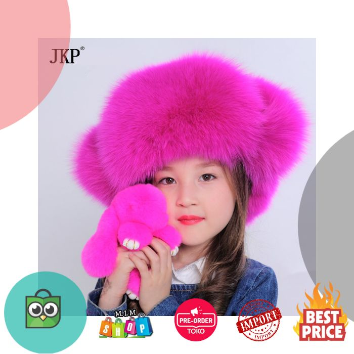 BELI Rusia Anak Gadis Nyata Bulu Rubah Topi bulu topi Musim Dingin 148ca20c07