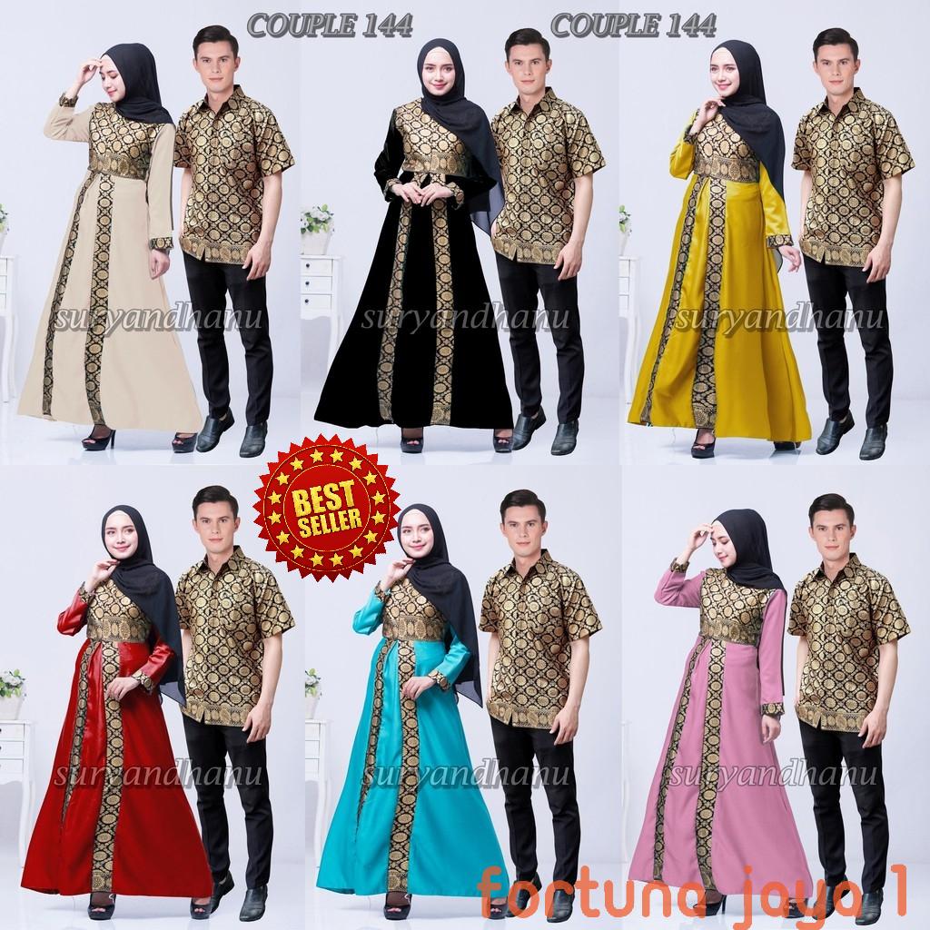 Jual Baju Batik Couple Keluarga Muslim Gamis Syari Pasangan