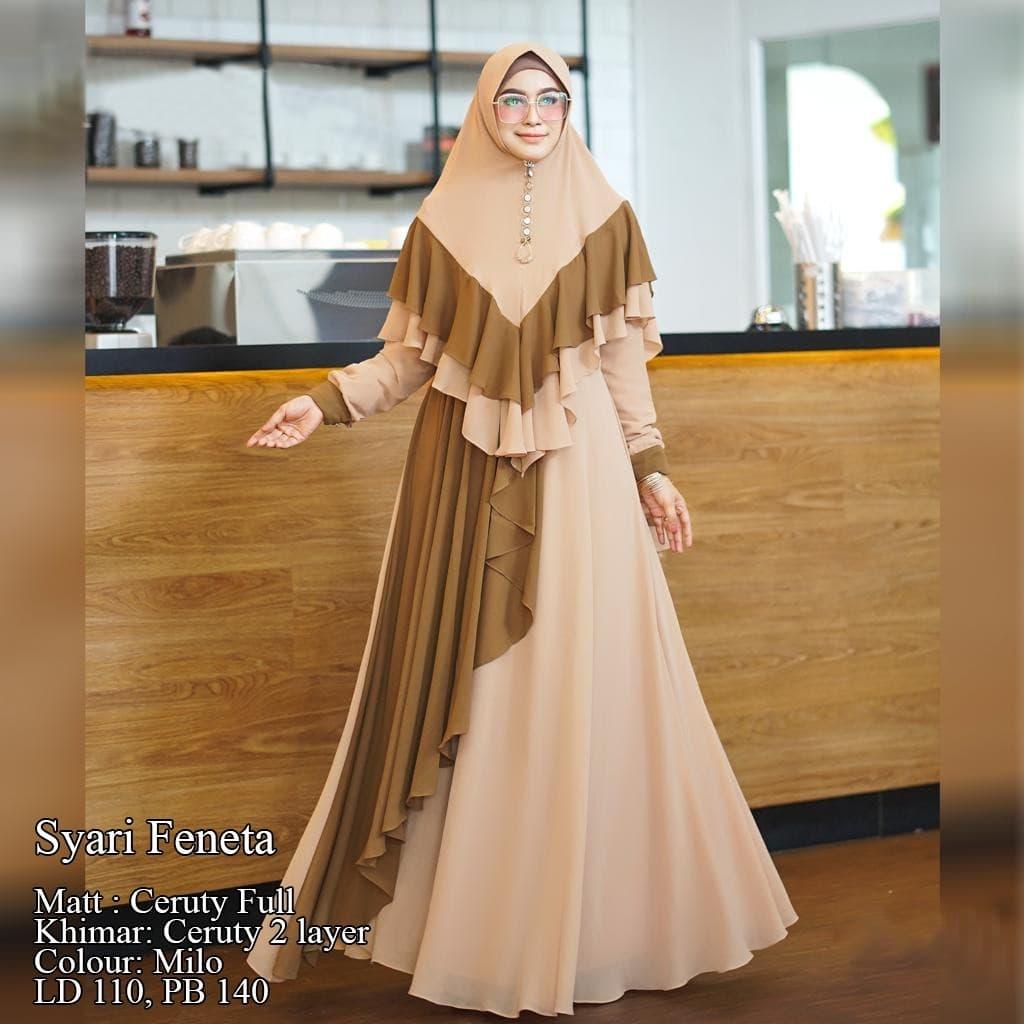 gamis premium feneta milo syari baju muslim exclusive terbaru