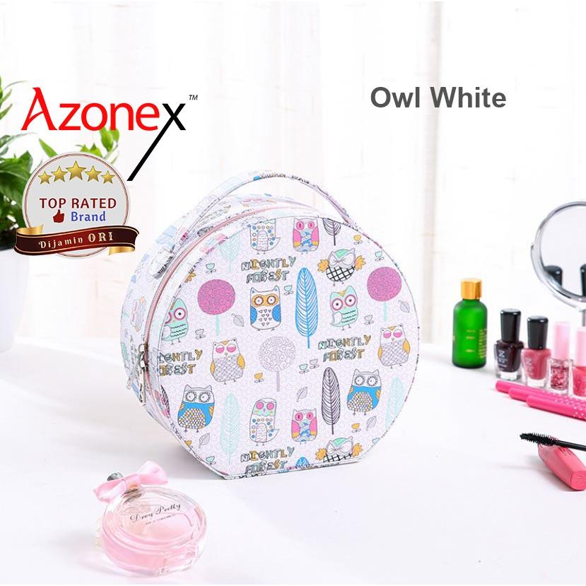 Tas Travel Tas Make Up Pouch Kosmetik Beuty Case Tempat Make Up - Owl White thumbnail
