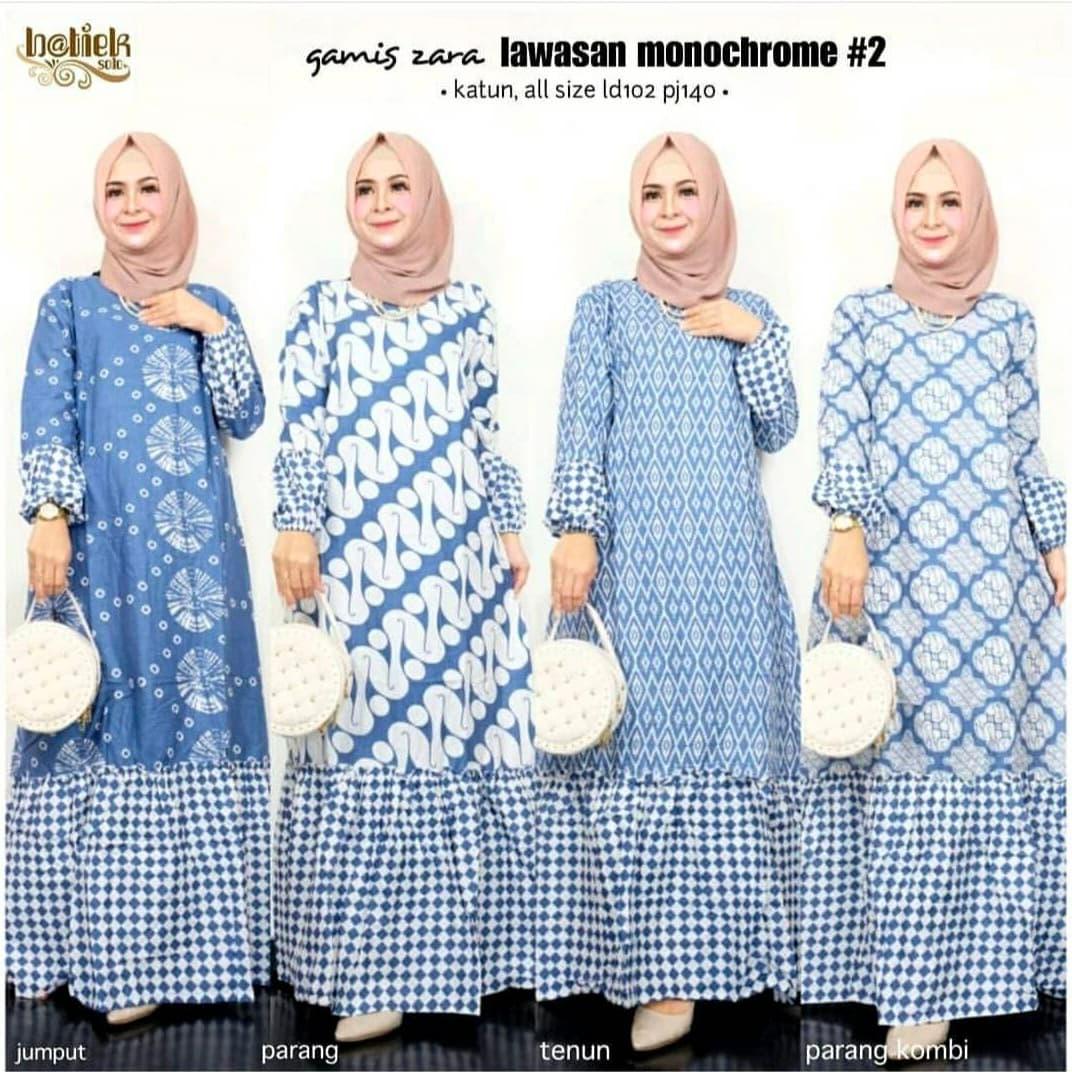 Gamis Batik Kombinasi Baju Muslimah Wanita Lokal Bahan Katun Murah