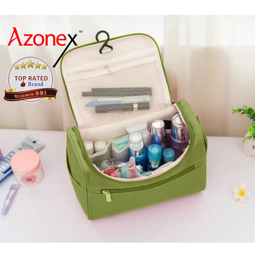 Tempat Penyimpanan Travel Bag Tas Make up & Tas kosmetik Polos - Hijau thumbnail