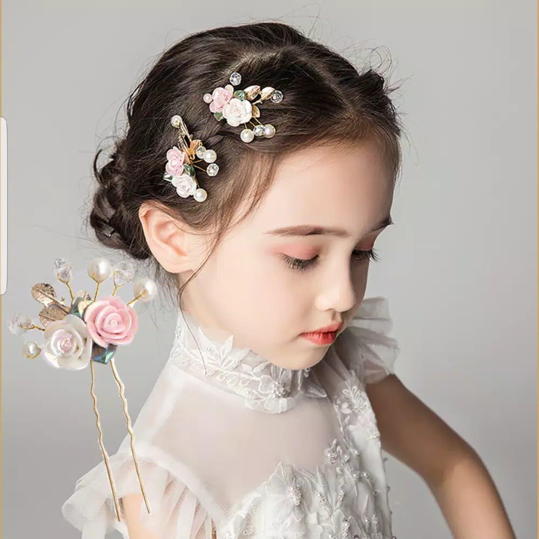 Hair pin Hiasan Rambut Bunga Aksesoris Sanggul Pesta Pengantin H07 thumbnail