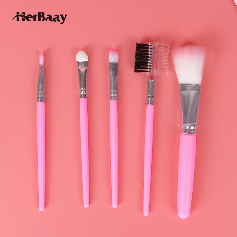 Herbaay 5 in 1 Set Kuas Makeup Concealers Kuas Makeup Eye Shadows Set - Merah Muda thumbnail