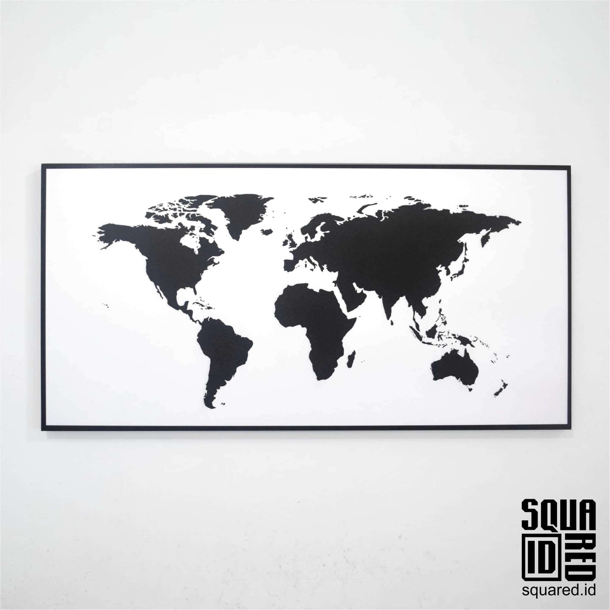 Peta Dunia Hitam Putih Lengkap Doylc Asia