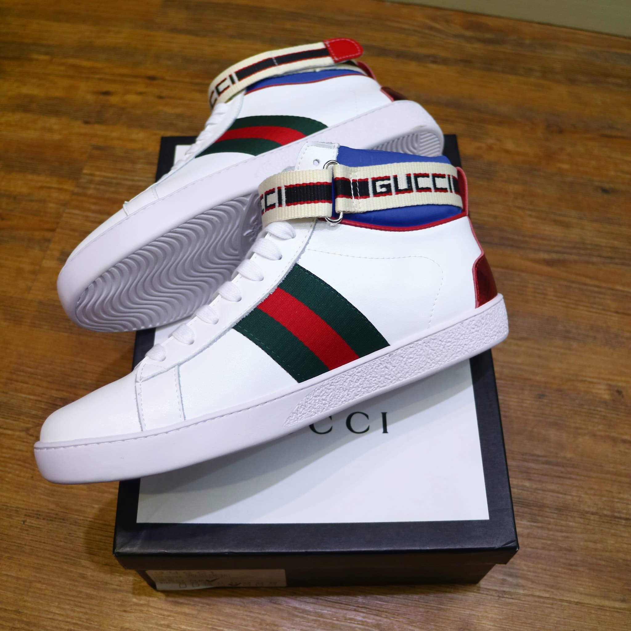f2d8f12e57 Jual Sepatu Gucci stripe Ace high top sneaker Super Premium mirror ...