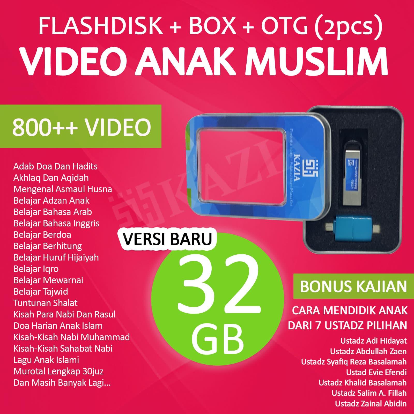 Jual Flashdisk Video Edukasi Anak Muslim 32GB Bonus BOX OTG Dan Ceramah Kazia Flashdisk Islami