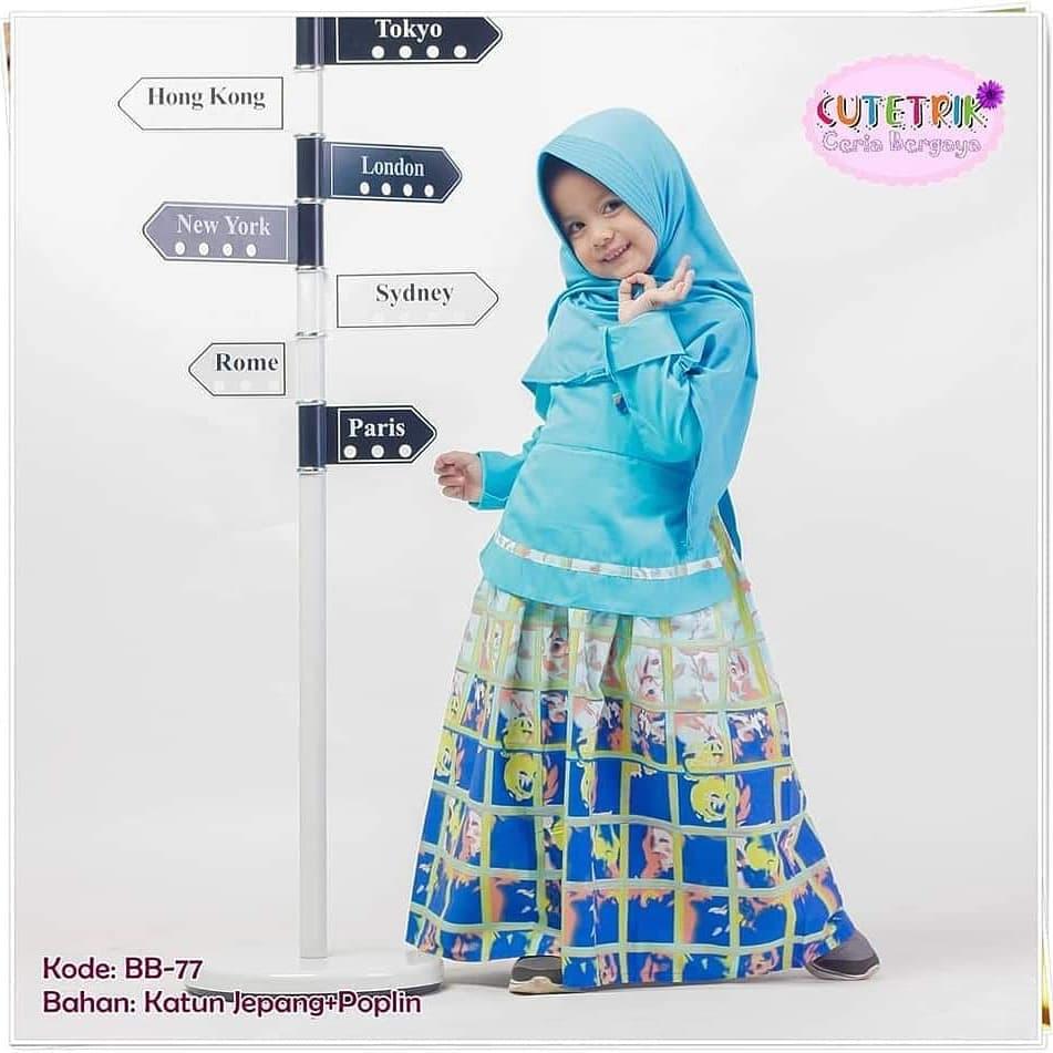 Jual (11-11 tahun) BB 11 Baju Muslim Gamis Anak Cutetrik Hanbok