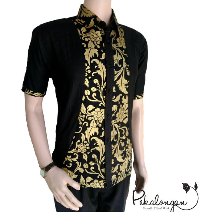 Jual Model Baju Batik Pria Lengan Pendek Kombinasi Prada Pekalongan