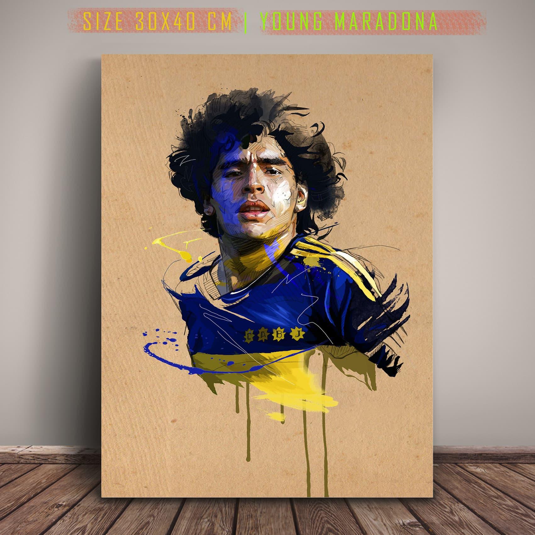 Poster Jumbo Young Maradona Pajangan Cafe Gambar Sketsa