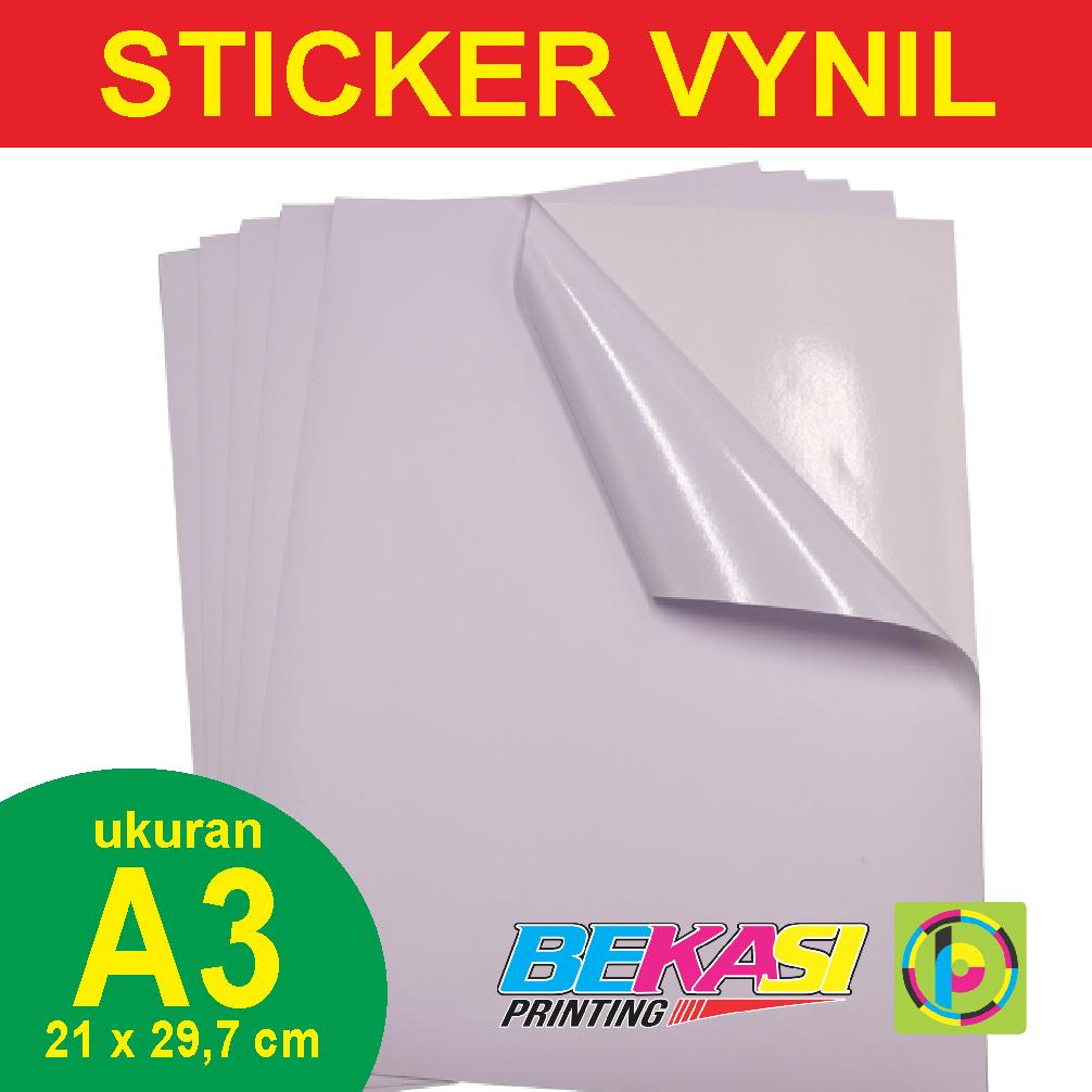 Jual sticker vynil white stiker plastik putih ukuran a3 297 x 42