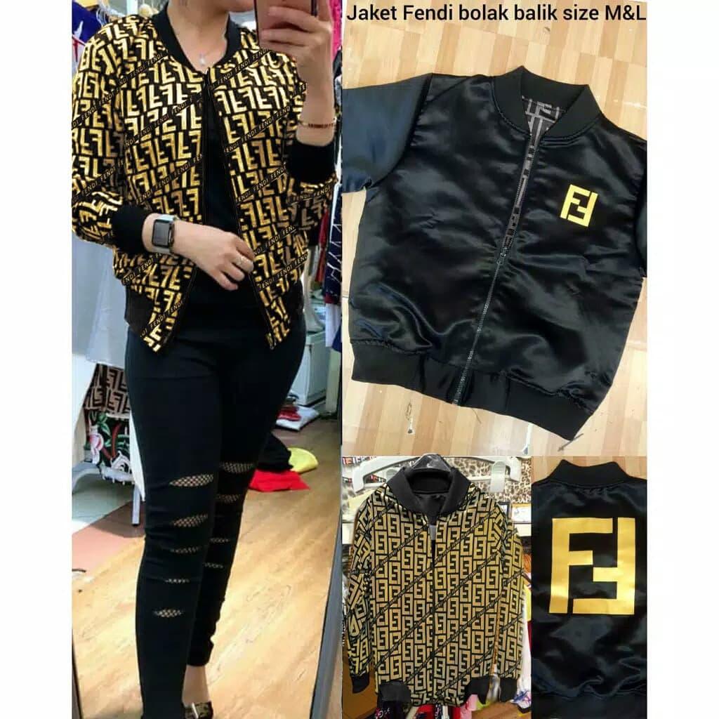 New Arrival Jaket Wanita Scuba Gold Fashion Wanita Jaket Fendi Gold Sl - Blanja.com