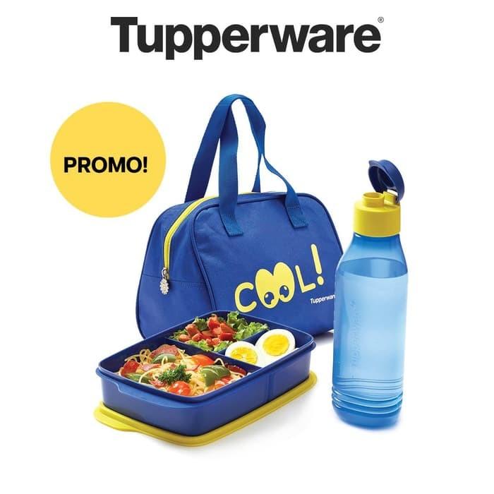 69459a223e9 Jual Tupperware Cool Teen Set With Bag Tempat Makan Minum Dengan Tas ...