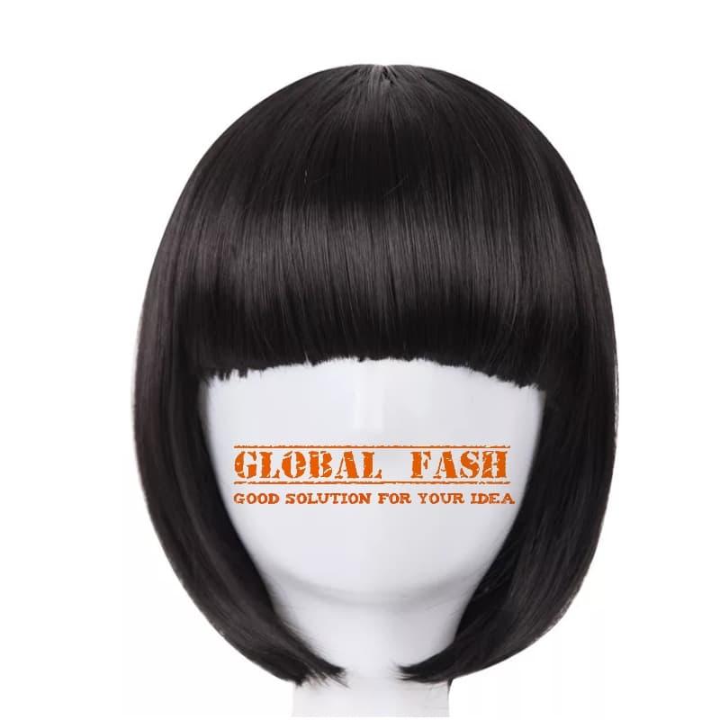 Wig bob hitam Wig pendek lurus Wig Cosplay Rambut Palsu full thumbnail