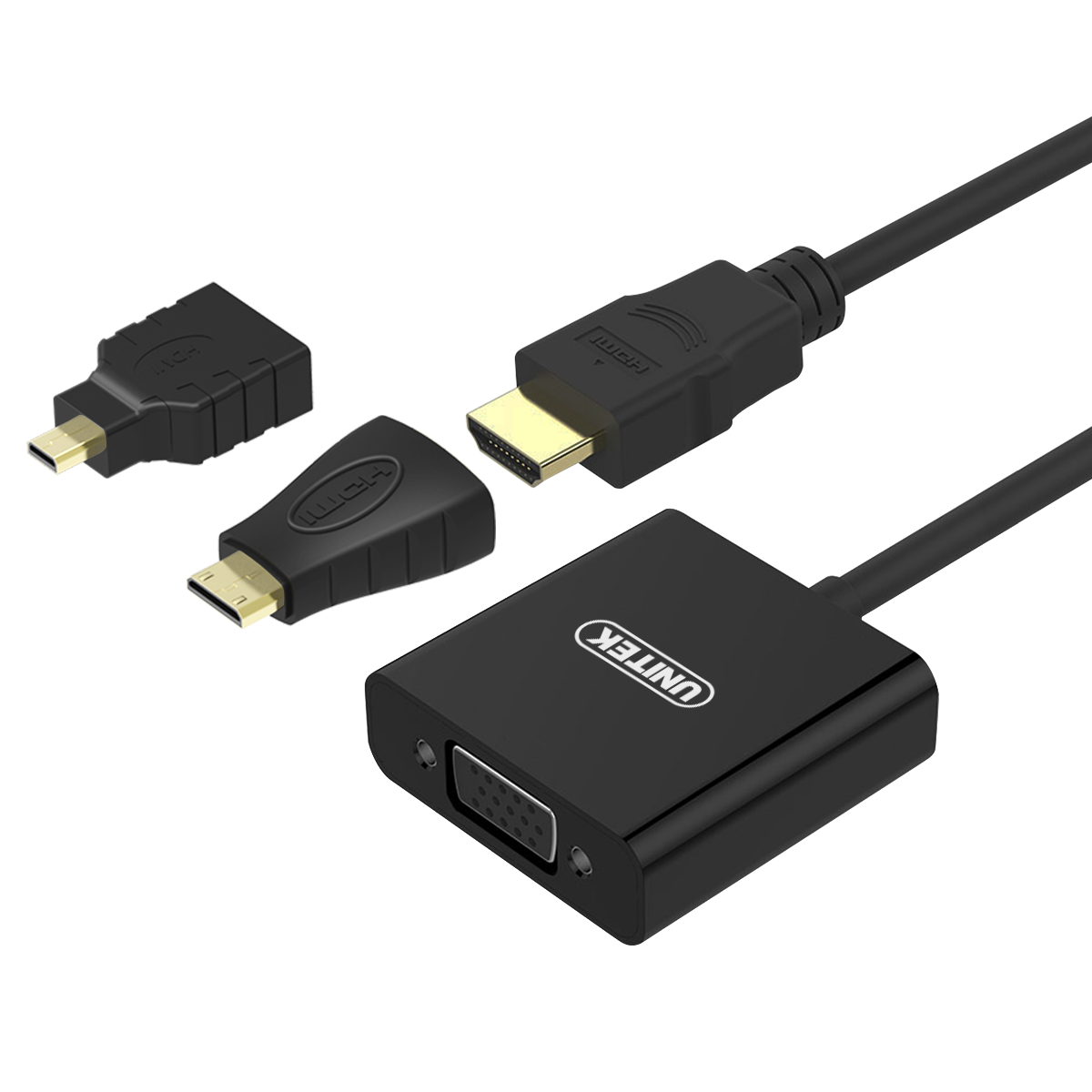 Connector / Konverter HDMI To VGA With Micro and Mini Hdmi Adapter - Merk Unitek (Y6355)