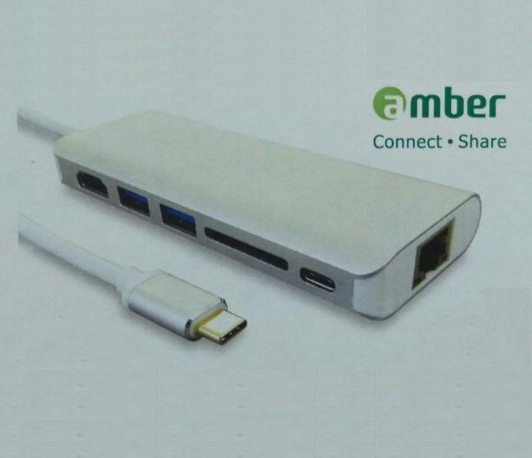 Amber CU3-HD61 - Type-C Dongle, HDMI, 2 USB, SD Card Reader, RJ45 Lan