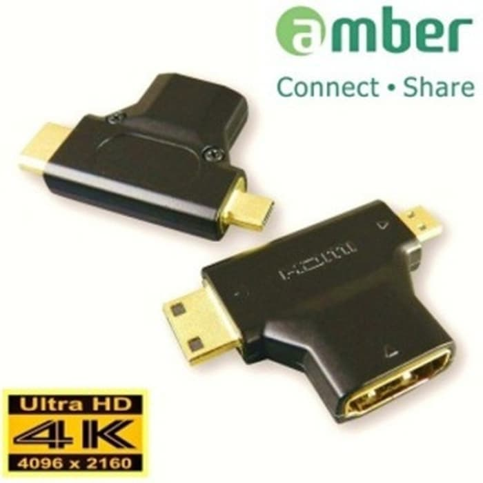 Amber HM-ACD2 - HDMI Adapter, A Female To C (Mini) & D (Micro)