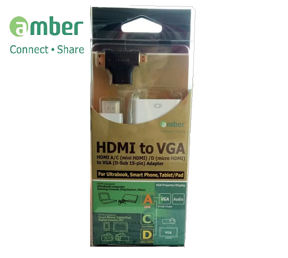 Amber HM-VGA2 - Adapter HDMI To VGA + Mini HDMI And Micro HDMI Converter