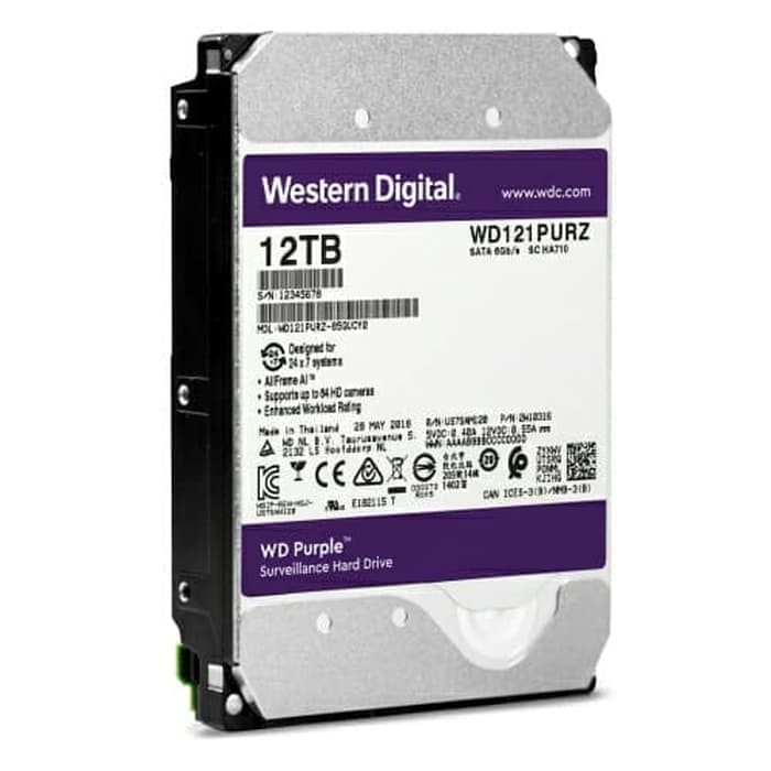 WDC Purple 12TB For CCTV 24 Hours - WD121PURZ - Garansi 3 Th