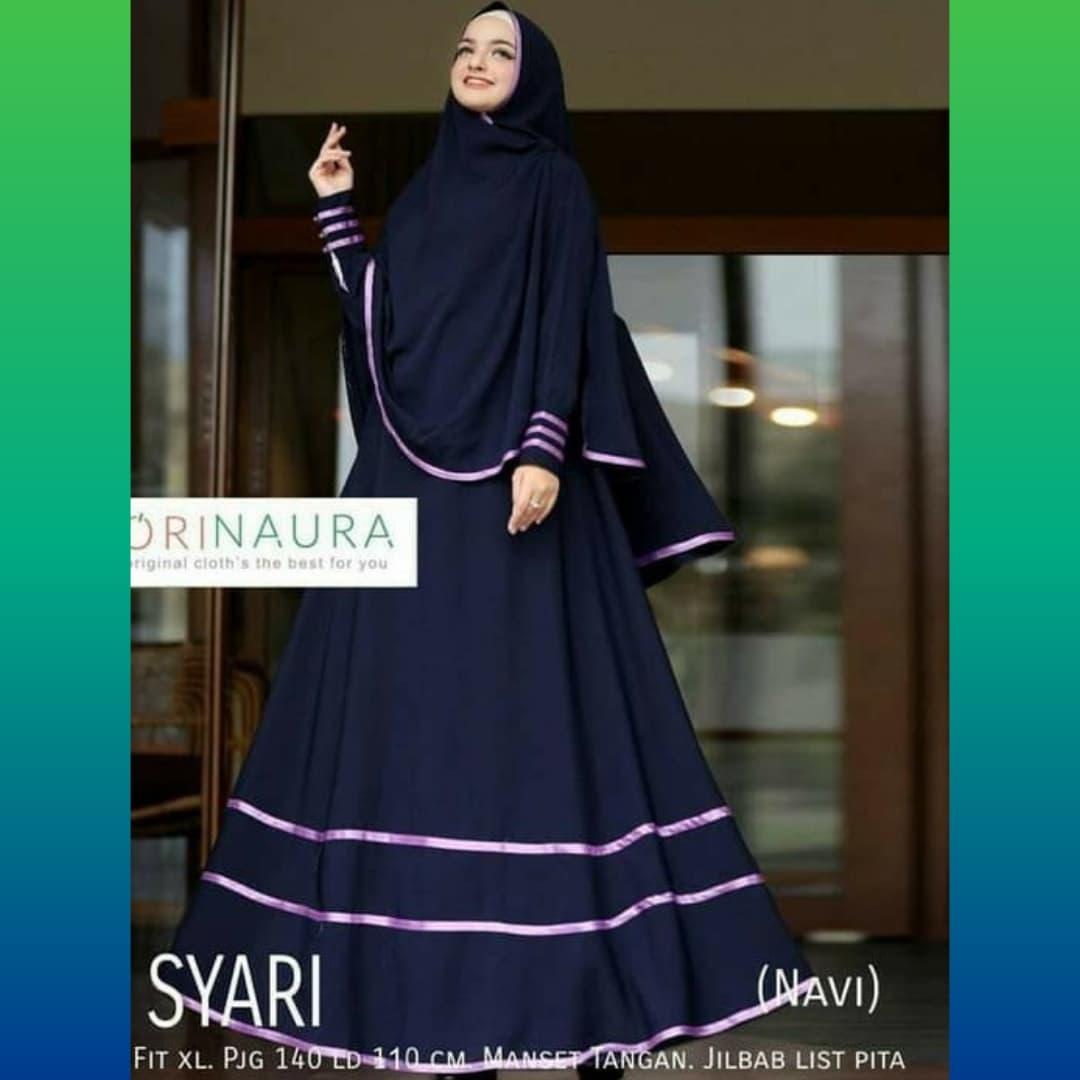 Jual setelan syari wanita maxi lebaran baju muslim gamis + jilbab