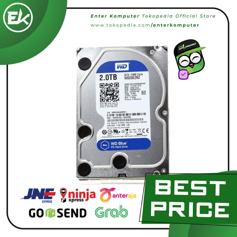 WDC 2TB SATA3 256MB - Blue - WD20EZAZ - Garansi 2 Th