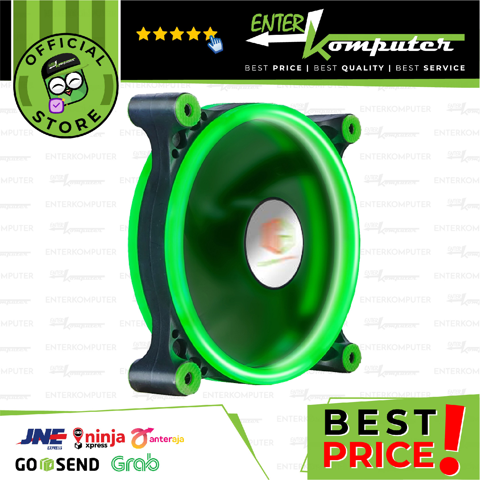 CUBE GAMING DOUBLE RING FAN V2.0 12CM 1300RPM GREEN LED