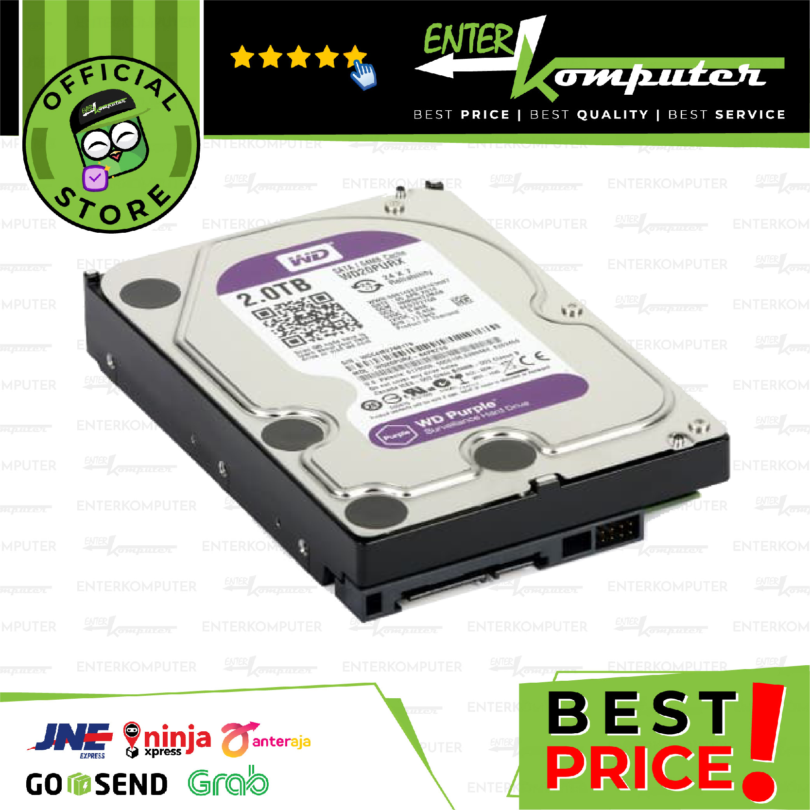 WDC Purple 2TB For CCTV 24 Hours - WD20PURZ - Garansi 3 Th