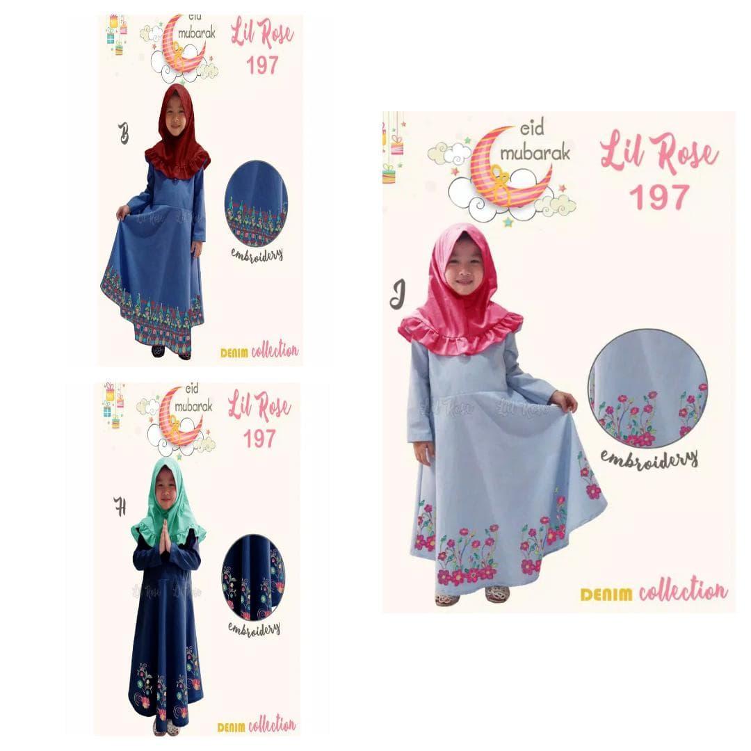 baju muslim gamis denim dress kerudung lil rose lr11 anak 11-11th