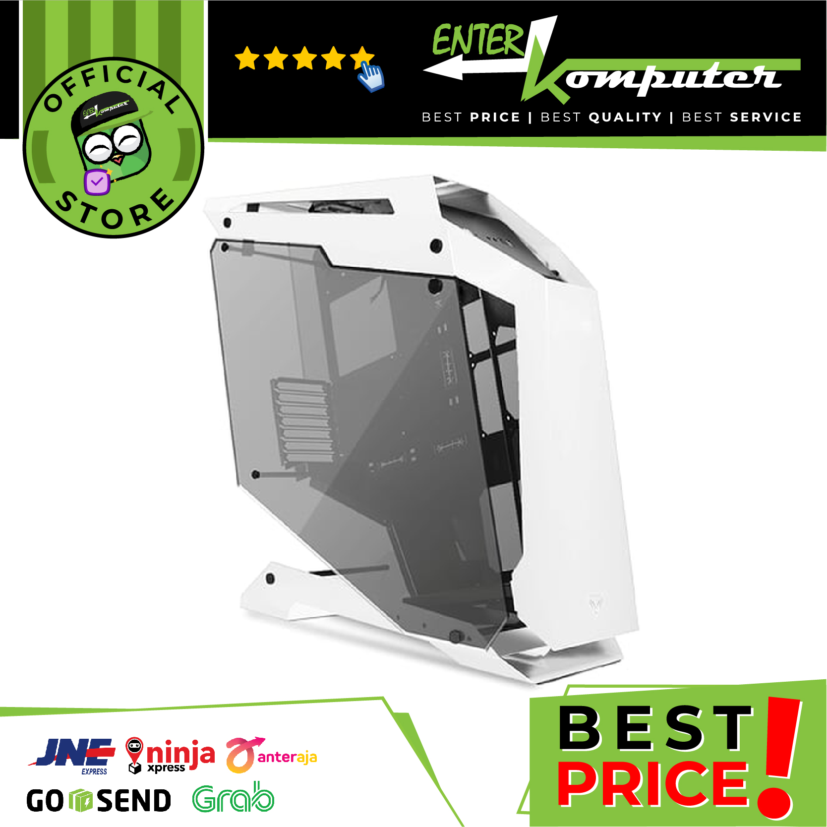 PRIME C-[Q] WHITE - ALUMUNIUM GAMING CASE - DUAL SIDE TEMPERED GLASS - FREE 3 PCS PRIME BUTTERFLY FAN