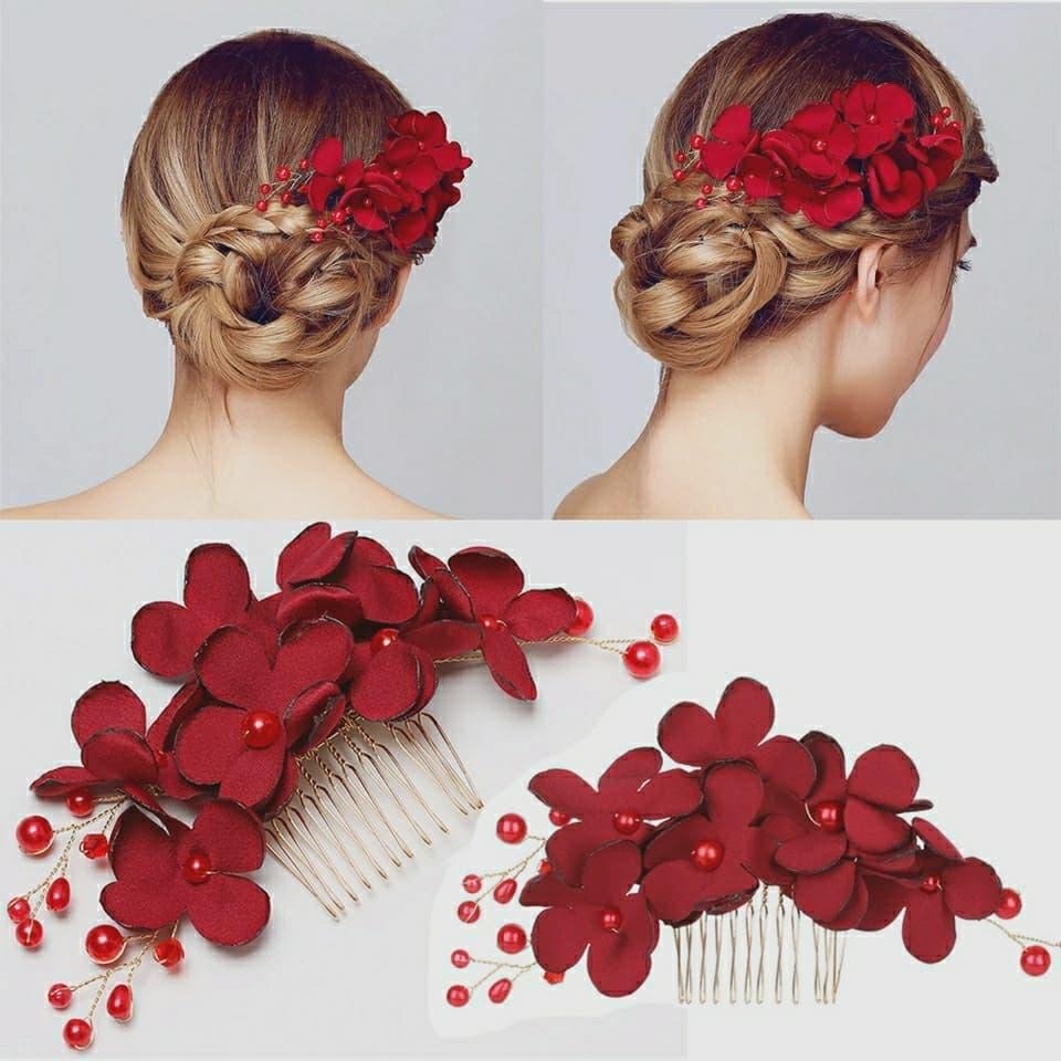 sirkam bunga merah hiasan aksesoris rambut sanggul pesta thumbnail