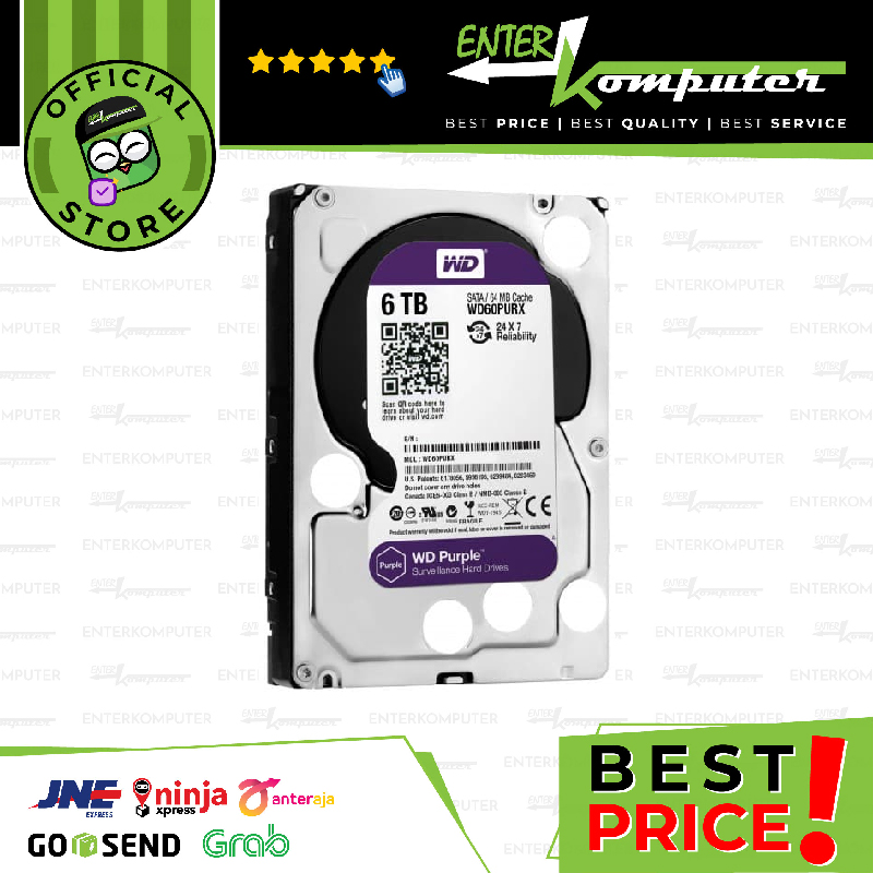 WDC Purple 6TB For CCTV 24 Hours - WD60PURZ - Garansi 3 Th