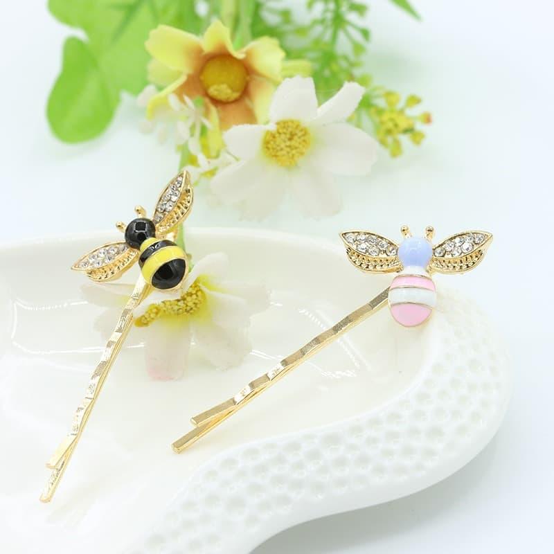 jepit rambut motif lebah Korea accessories cute bee hairpin jje023 - pink thumbnail