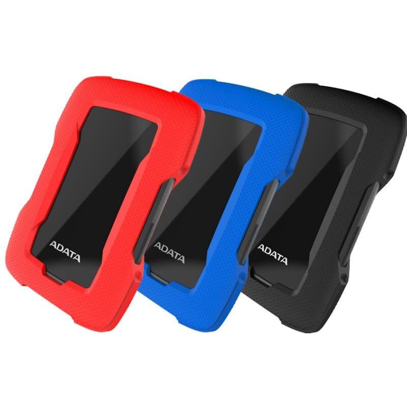 ADATA HD330 1TB - (Antishock / Shock Absorbing Silicone) USB 3.2 - Black / Blue / Red