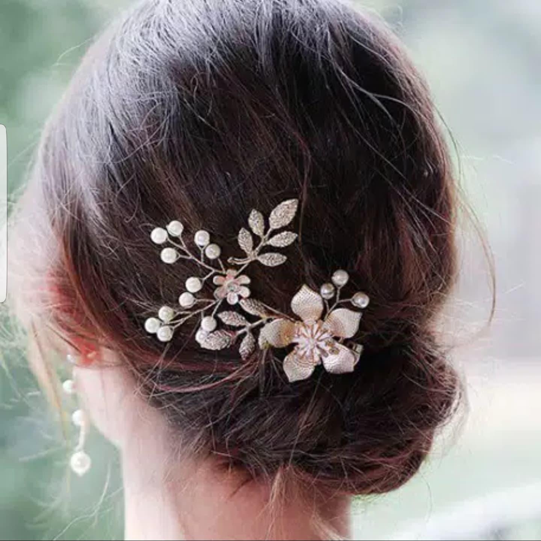Aksesoris Hiasan Rambut Tiara Bando Bunga Sanggul Pesta Pengantin J01 thumbnail