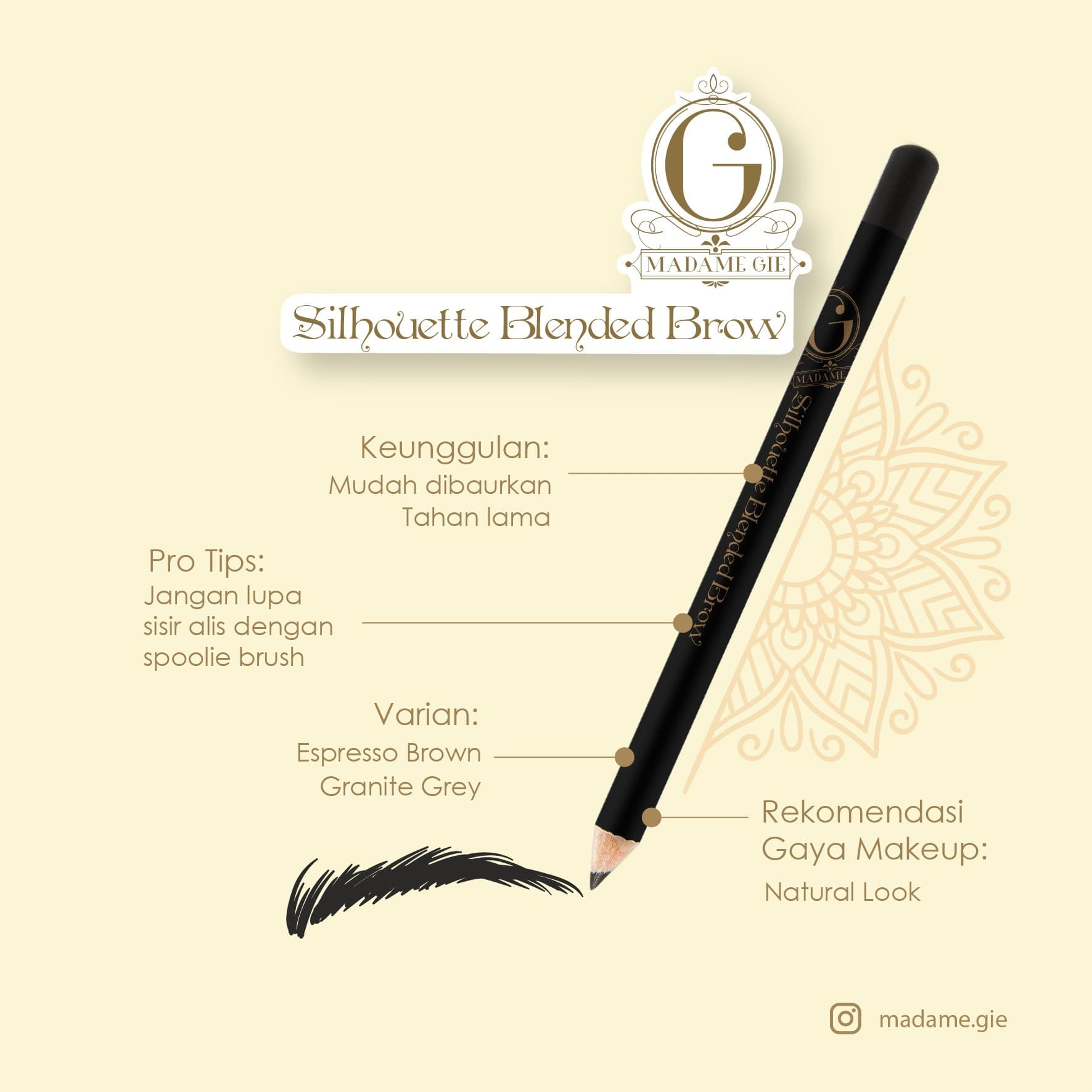 MADAME GIE SILHOUETTE BLENDED BROW MADAME GIE PENSIL ALIS - ESPRESSO BROWN thumbnail