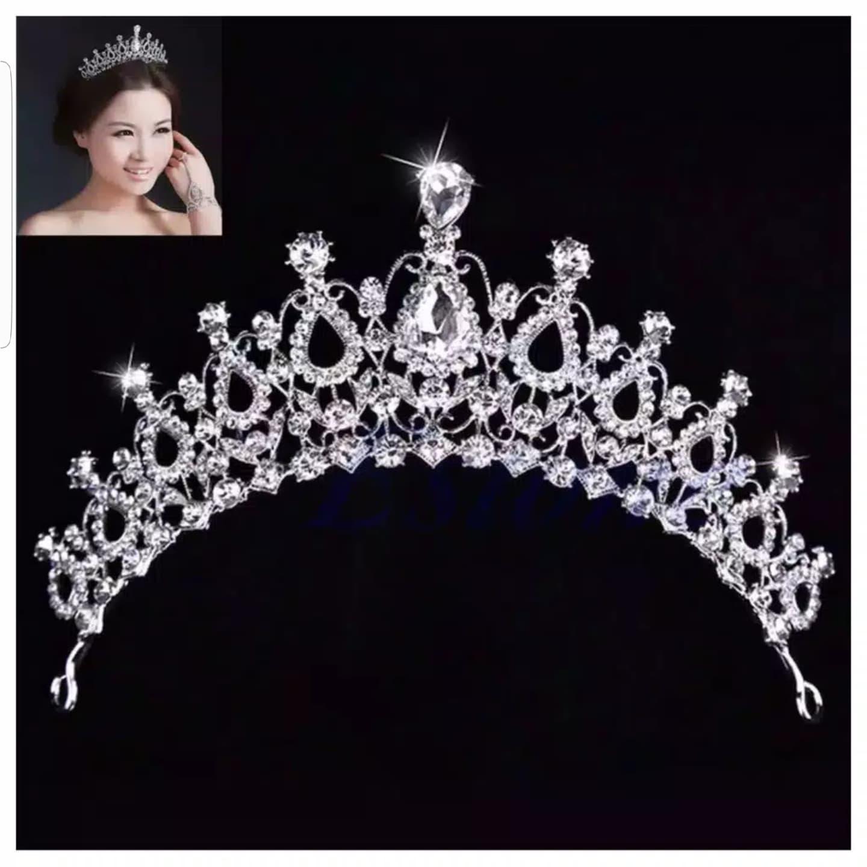 Mahkota Hiasan Rambut Tiara Crown Aksesoris Wedding Pesta Pengantin C5 thumbnail