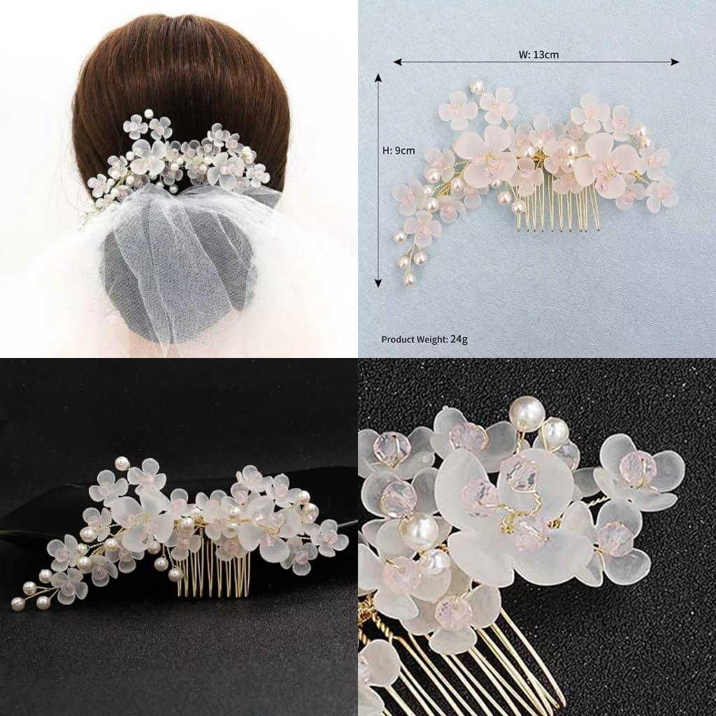 sirkam bunga putih aksesoris sanggul rambut pesta hiasan rambut thumbnail