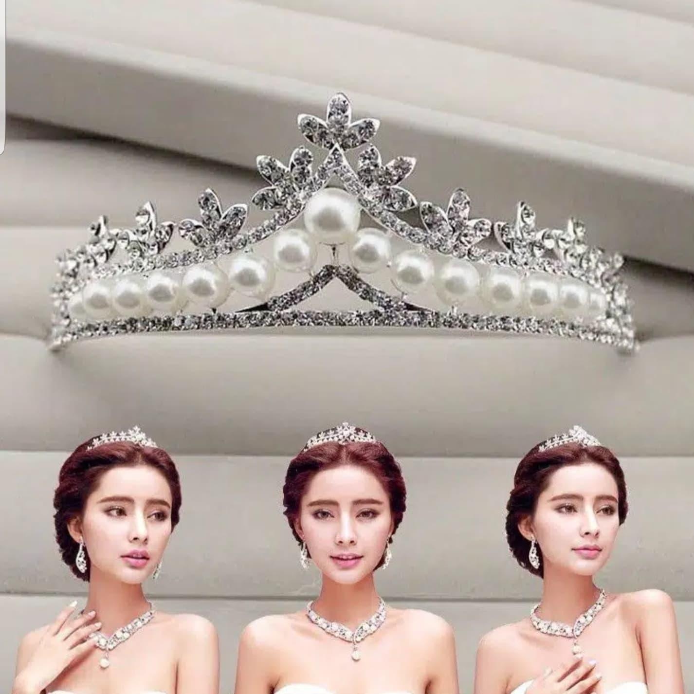 Mahkota Hiasan Rambut Tiara Crown Aksesoris Wedding Pesta Pengantin C2 thumbnail