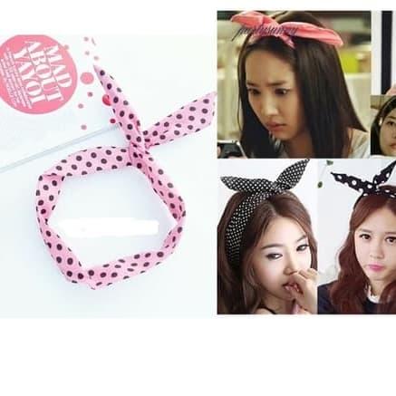 Bando Kawat motif bandana rambut korea hairband bunny thumbnail