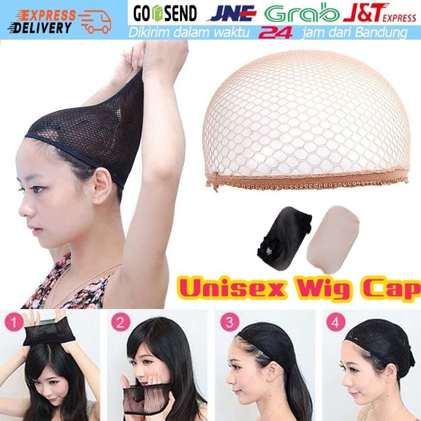 2PCS Weaving Cap Stretchable Elastic Hair Net Snood Wig Cap Hairnet - Hitam thumbnail