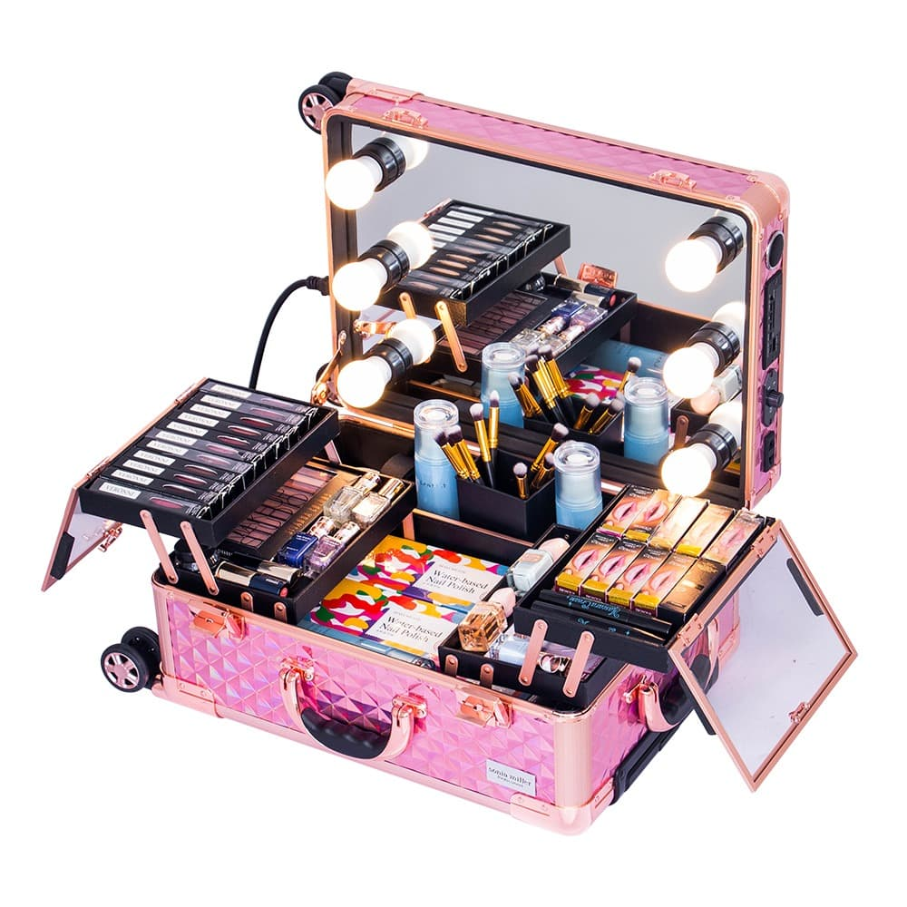 Sonia Miller Cabin Beauty Makeup Case Diamond Holopink w 6 LED Bulbs thumbnail