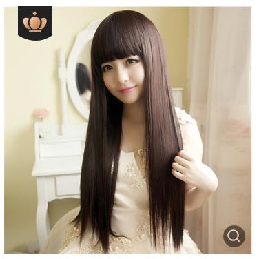 Wig Wanita Rambut Palsu Model Panjang Lurus Poni 036 thumbnail