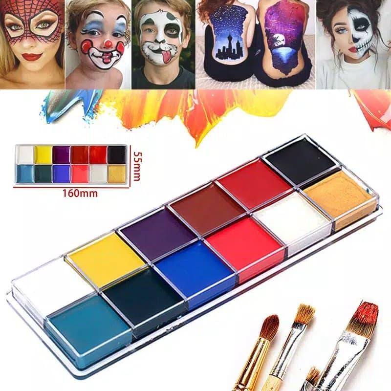 Body Face Painting 12 Warna Palette untuk Pesta Body Paint Kit thumbnail