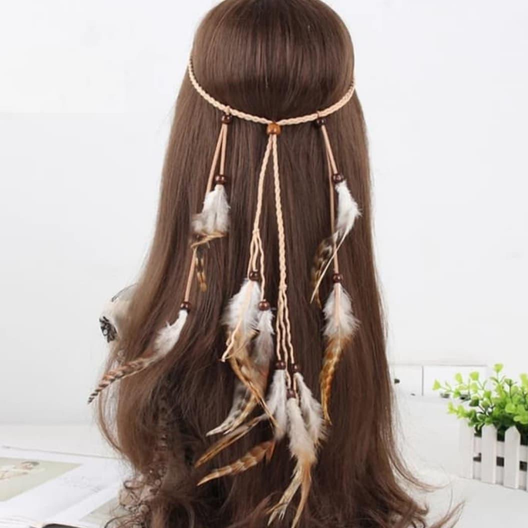 Headband Ikat Kepala Mahkota Rambut Bulu Indian Bohemian Boho thumbnail