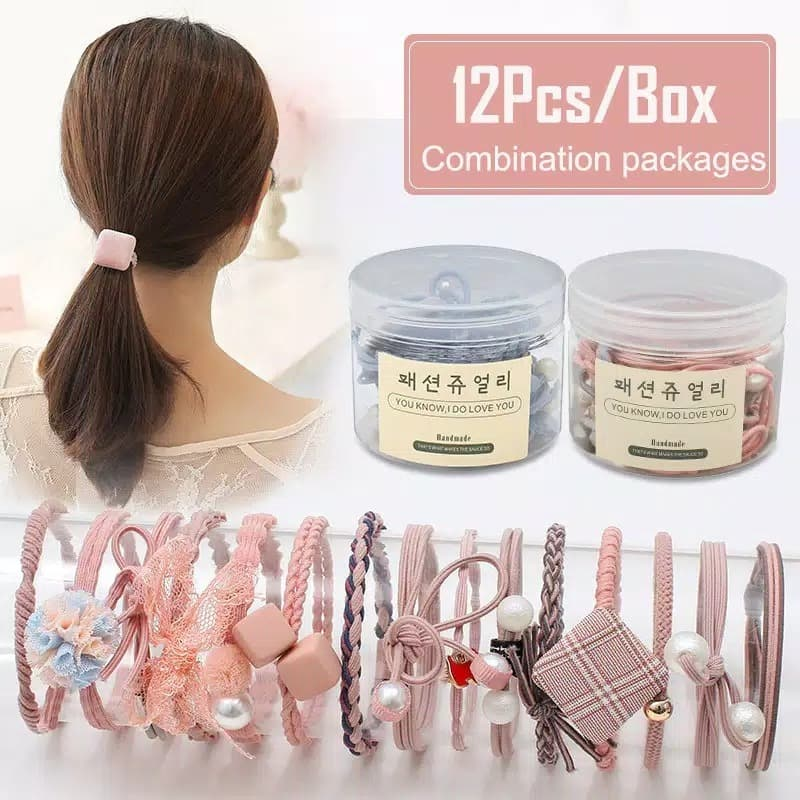 12Pcs Set Ikat Rambut Simple Bahan Karet Gaya Wanita Korea K387 - Hitam thumbnail