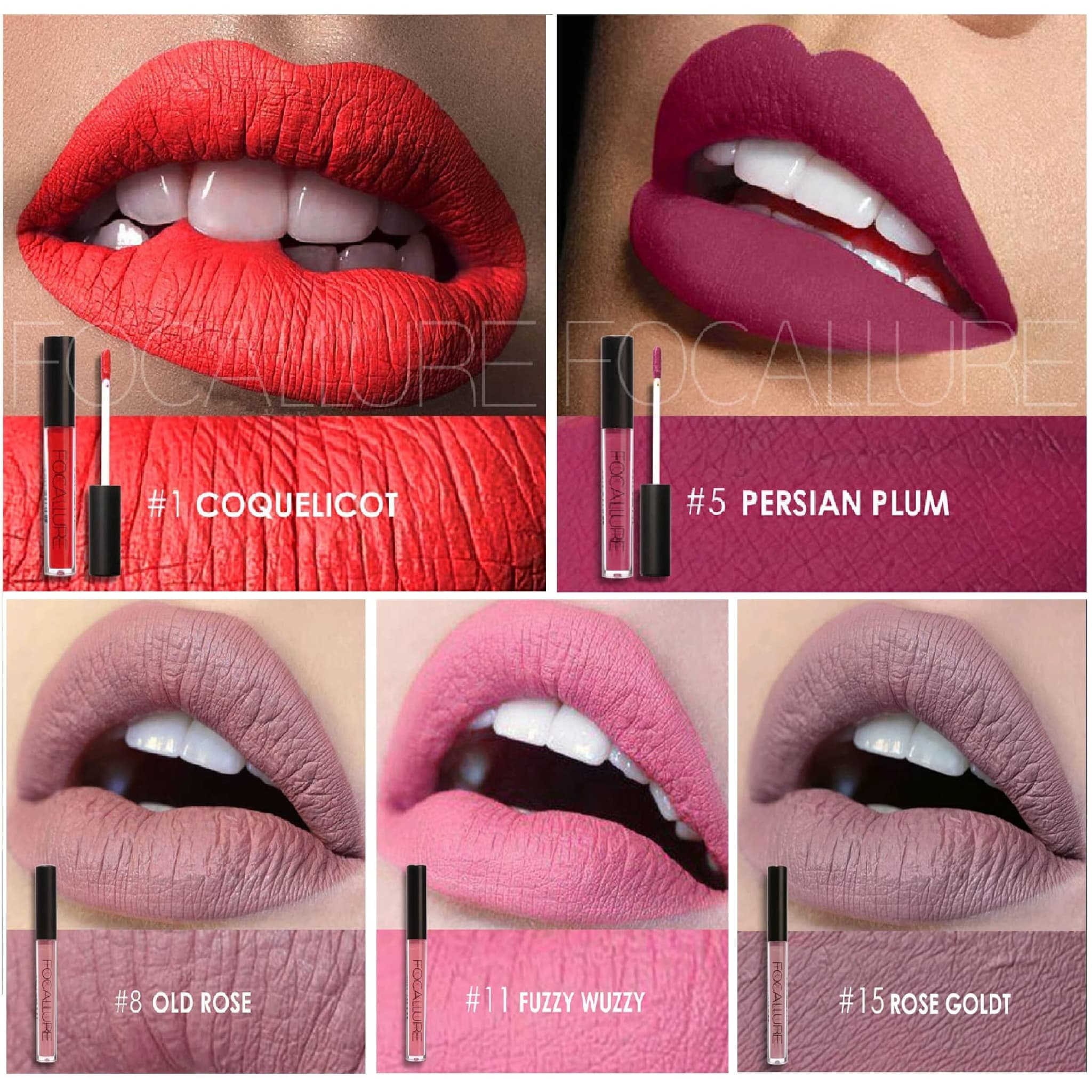 SALE CLEAR STOCK FOCALLURE LIPSTICK CAIR WATERPROOF - 01 COQUELICOT thumbnail